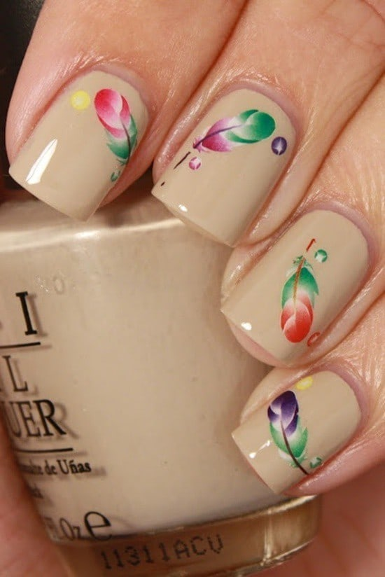 feather & zebra nail designs 8