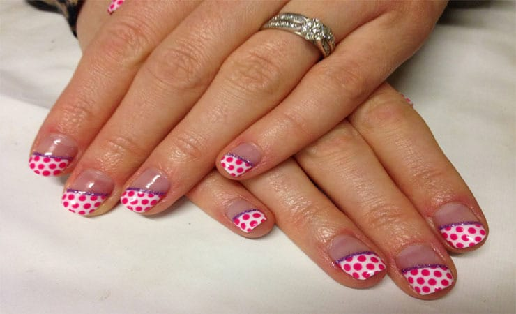 Polka Pink Dots. french tip nail designs 12 - 50 Mind-Boggling French Tip Nail Design Ideas
