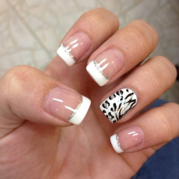 Calm Zebra french acrylic nails