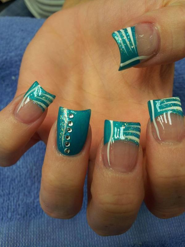 Ocean Blue french tip nail