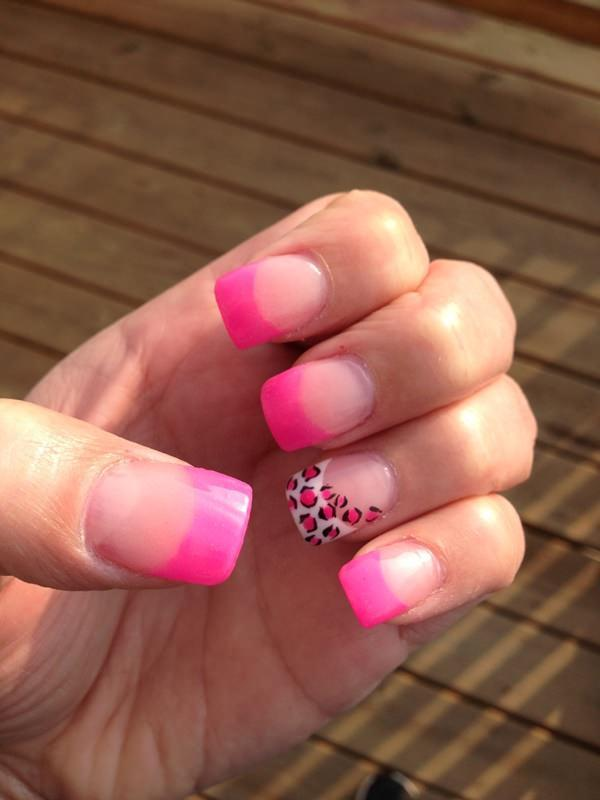 girl Pink Roars french tip nail art