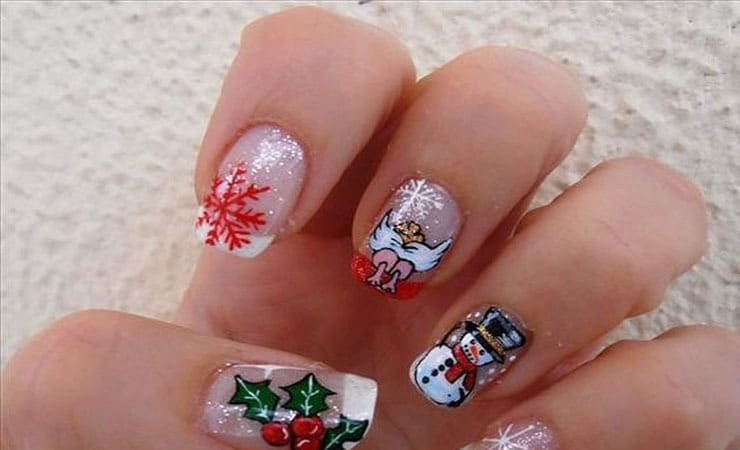 Santa Cluase design french tip nail