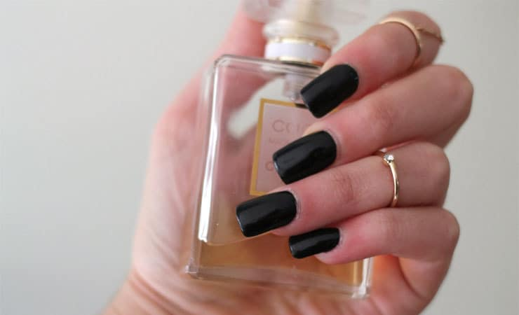 pure black french tip nail