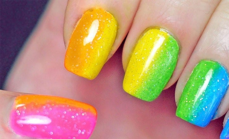 Colorful Glitter french tip nail for women