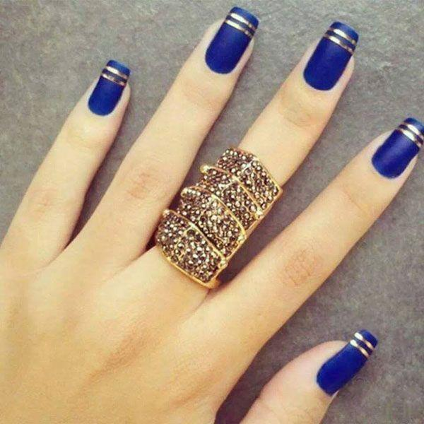 Matte Navy french nail designs