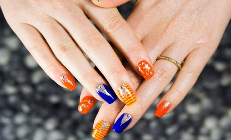 Orange And Yellow color french tip nail art