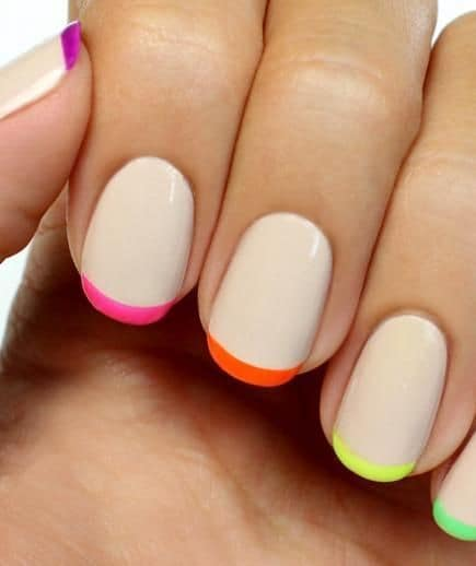 Rainbow color french tip nail ideas