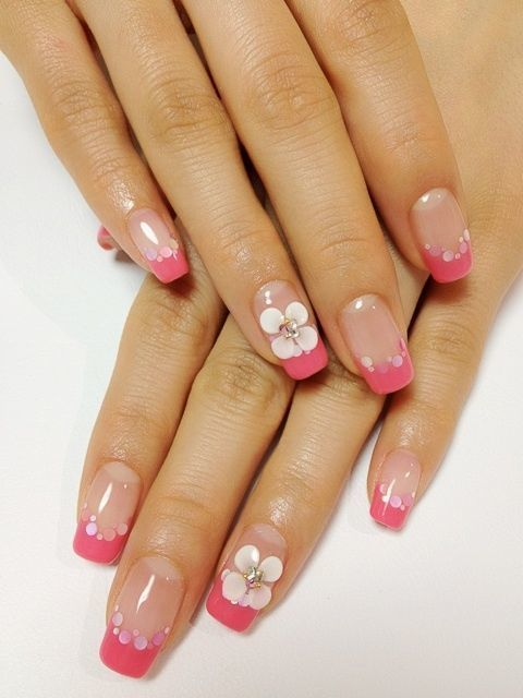 french nail with flower