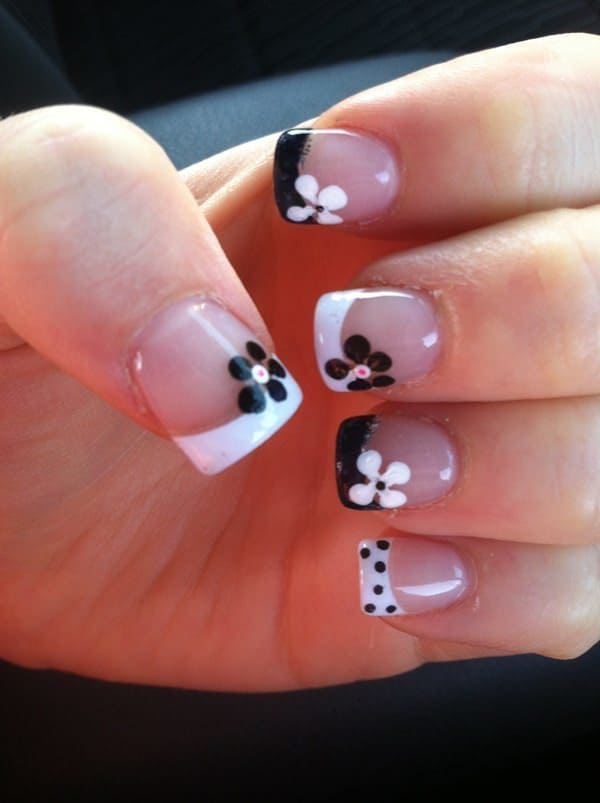 Black And White french tip acrylic nails