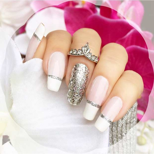 Bridal White french tip nail