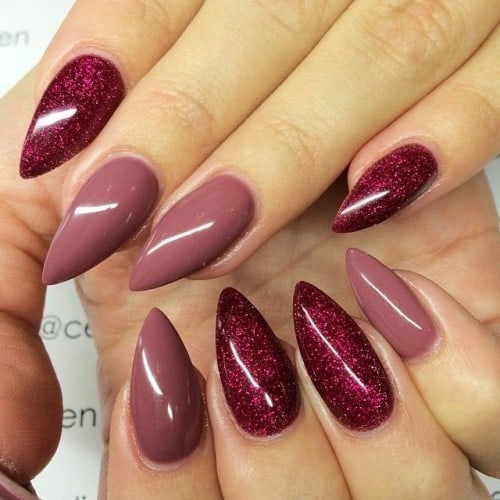 favorite Shiny Magenta french tip nail color
