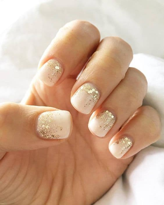 White Clear Base with Gold - 40 Classy Gold Nail Designs That'll Entice You