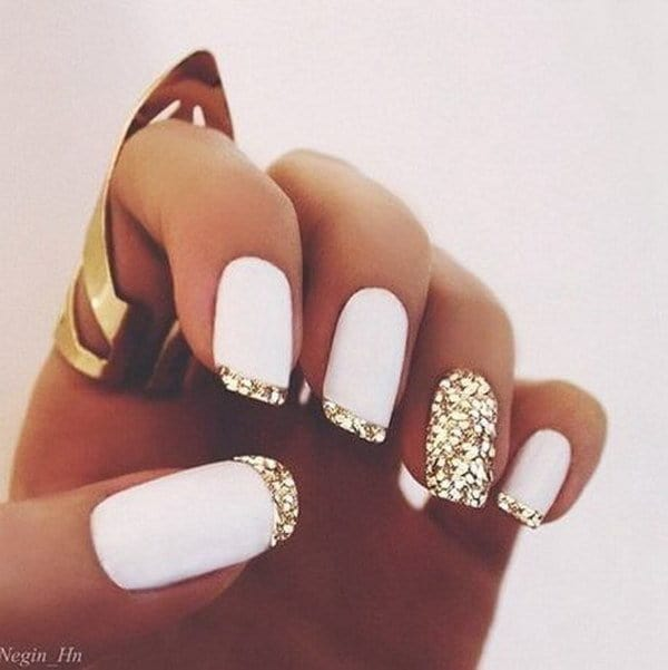 gold nail designs ideas with white tips
