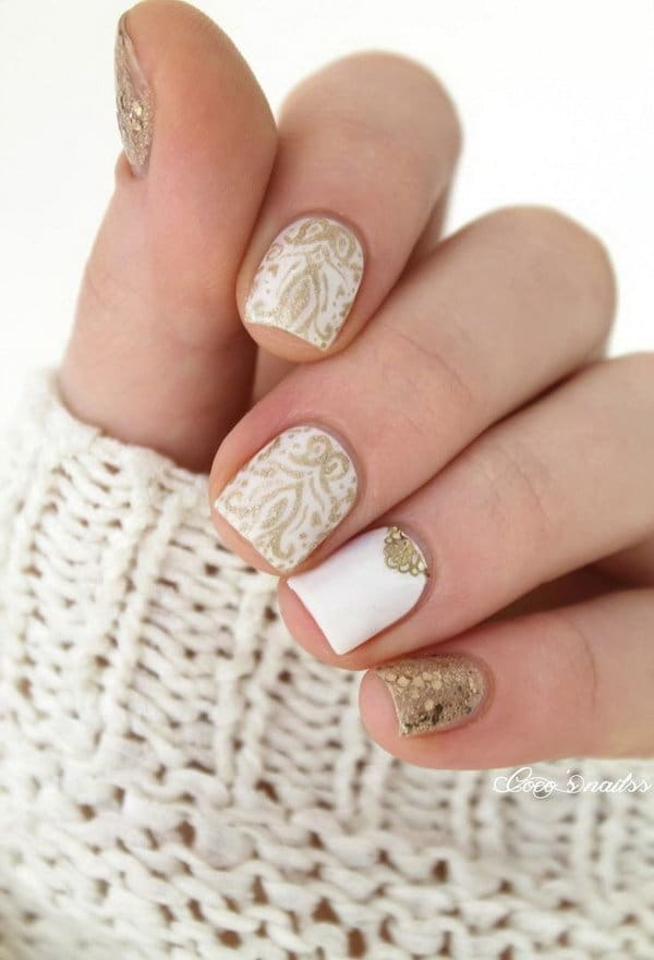short gold nail designs with white color