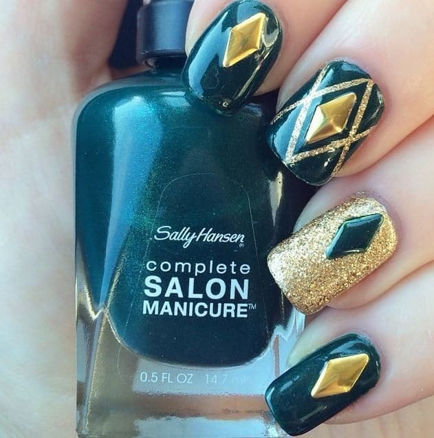 Oxford Blue color with gold nail design