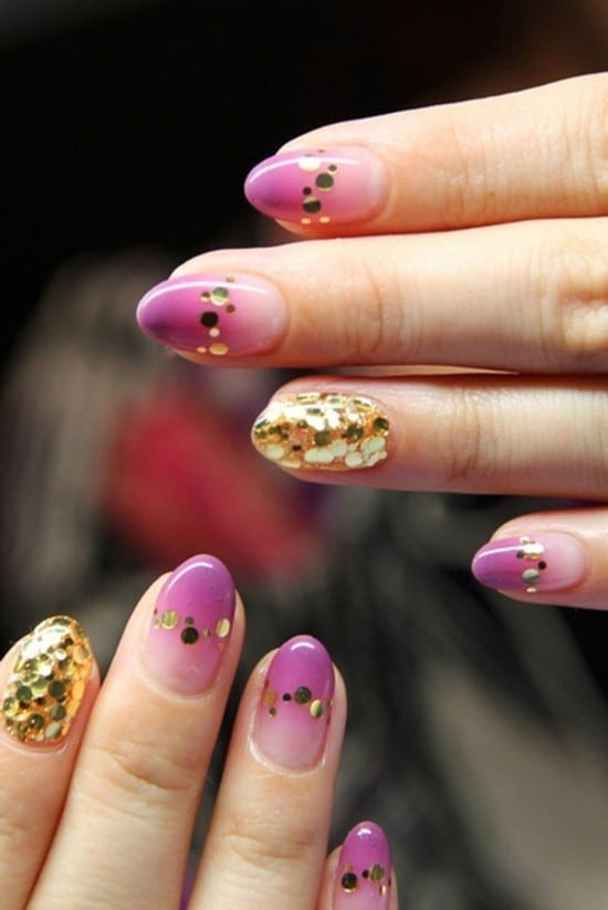 pink mixture with gold design