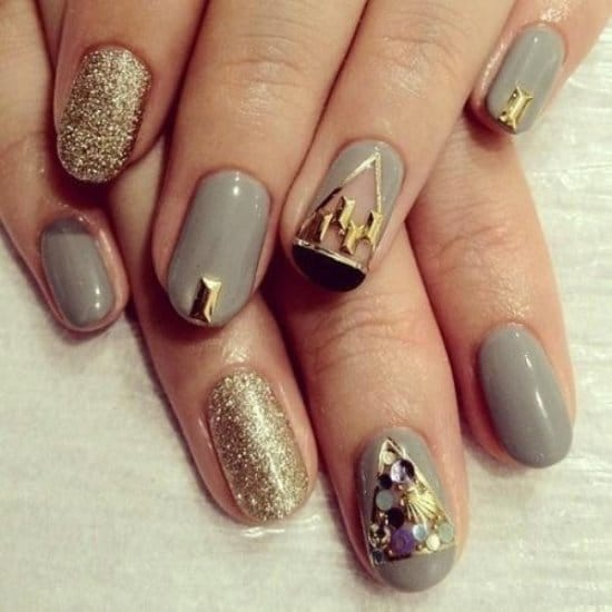 Gray Gold Nails