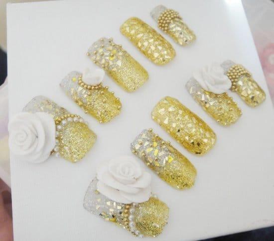 Acrylic Golden Nail ideas for girls