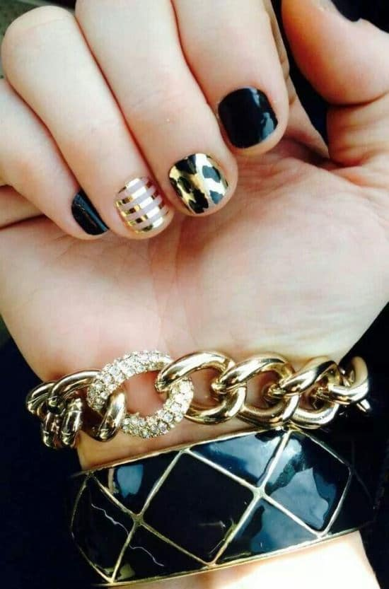 nail designs with Black & Gold color