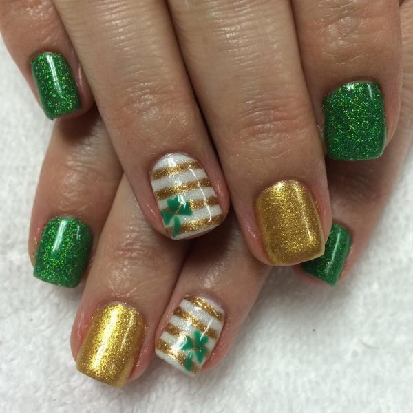 green and gold nail design