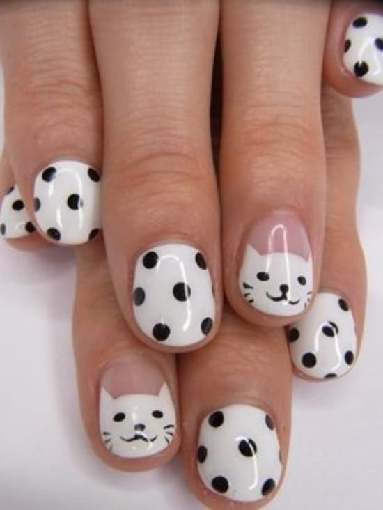 Cute black and white In Dots nail for girl