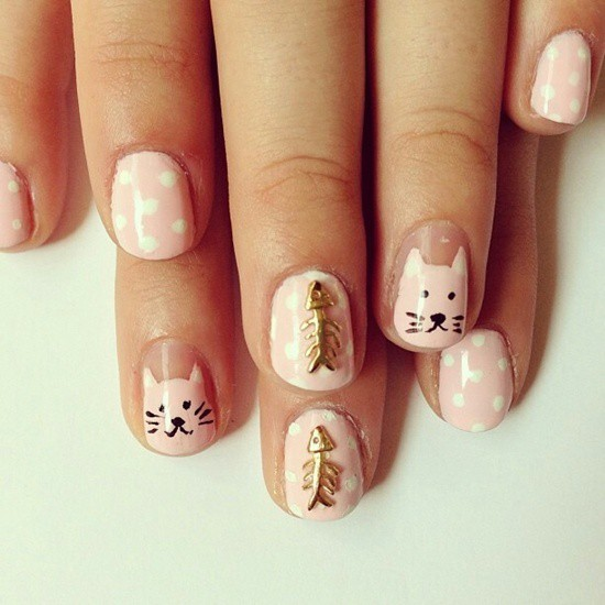 hello kitty & Claw nail art for girl