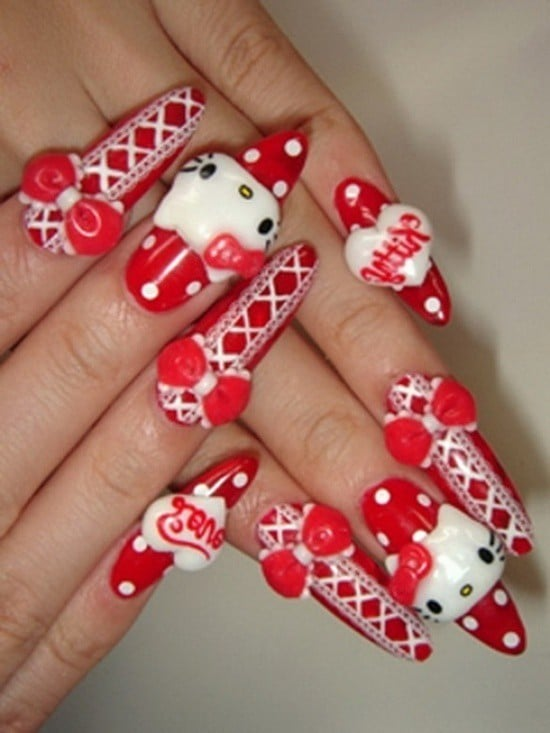 hello kitty & Claw nail designs 19