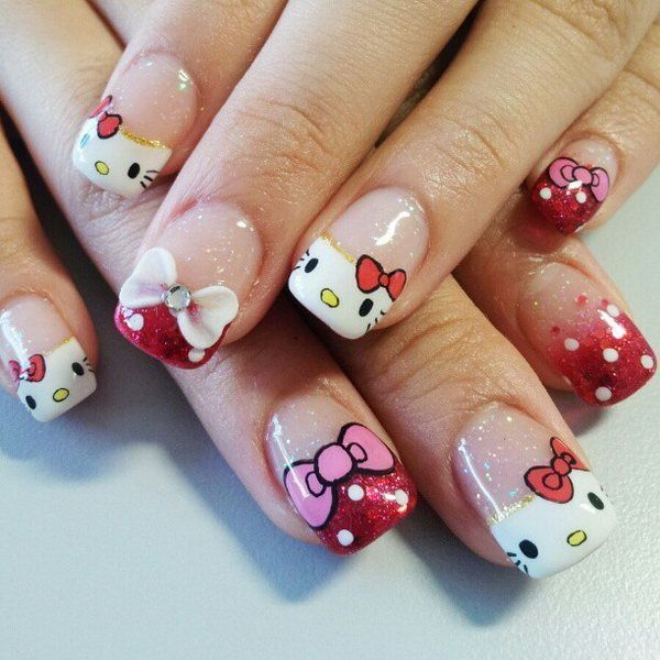 hello kitty & Claw nail designs 2