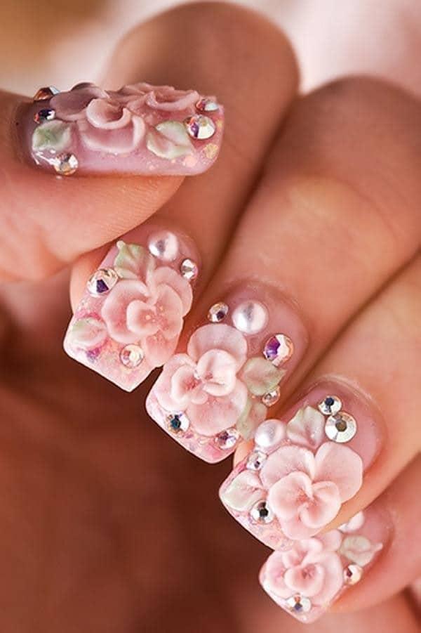 Floral Pink nail