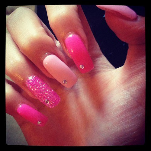 Five Shades with hot pink nail designs