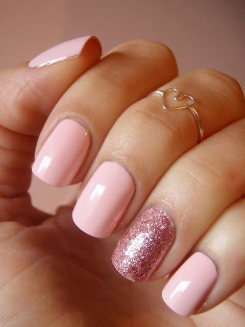 hot pink nail designs with Crystal Art