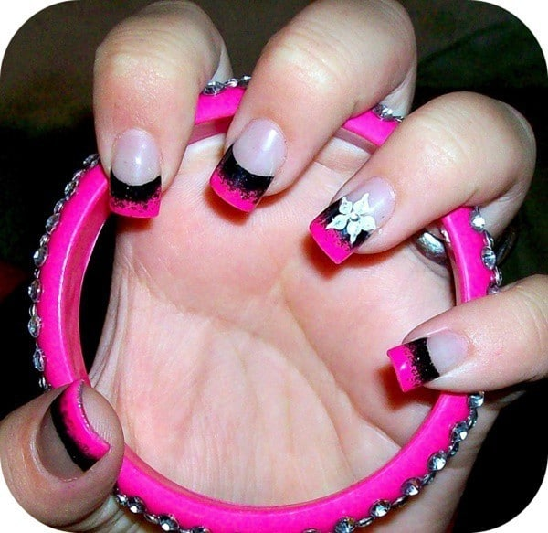 If you're a hard rock and roll fan or you simply love the metal style then  this might be the right style for you with black gothic color and the neon  shade ... - 50 Hottest Pink Nail Designs Trending Right Now