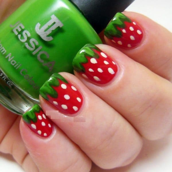 Strawberry designs little girl nail art - 20 Cute & Easy Nail Designs For Little Girls - NailDesignCode