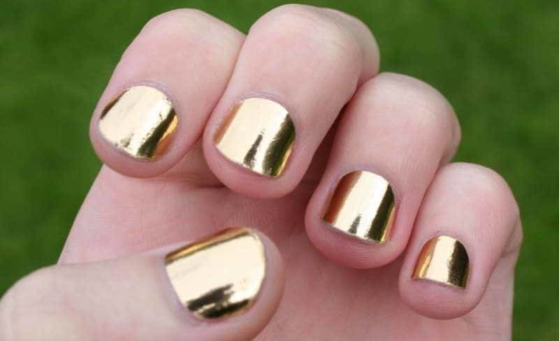 Golden Finger girl nail idea for little girl - 20 Cute & Easy Nail Designs For Little Girls - NailDesignCode