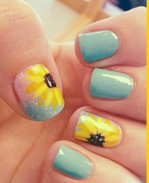 long Blue Sky Nails