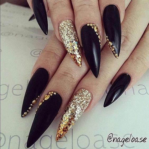 Gold And Coal long nail designs