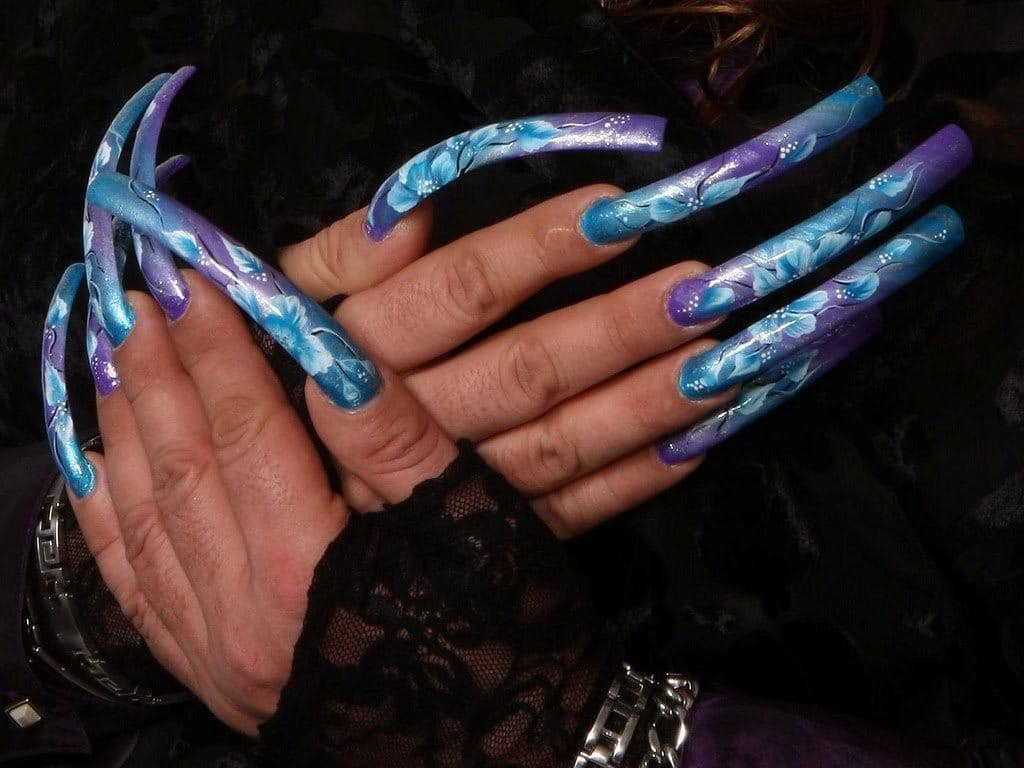 Daring In Blue Long Nail Idea