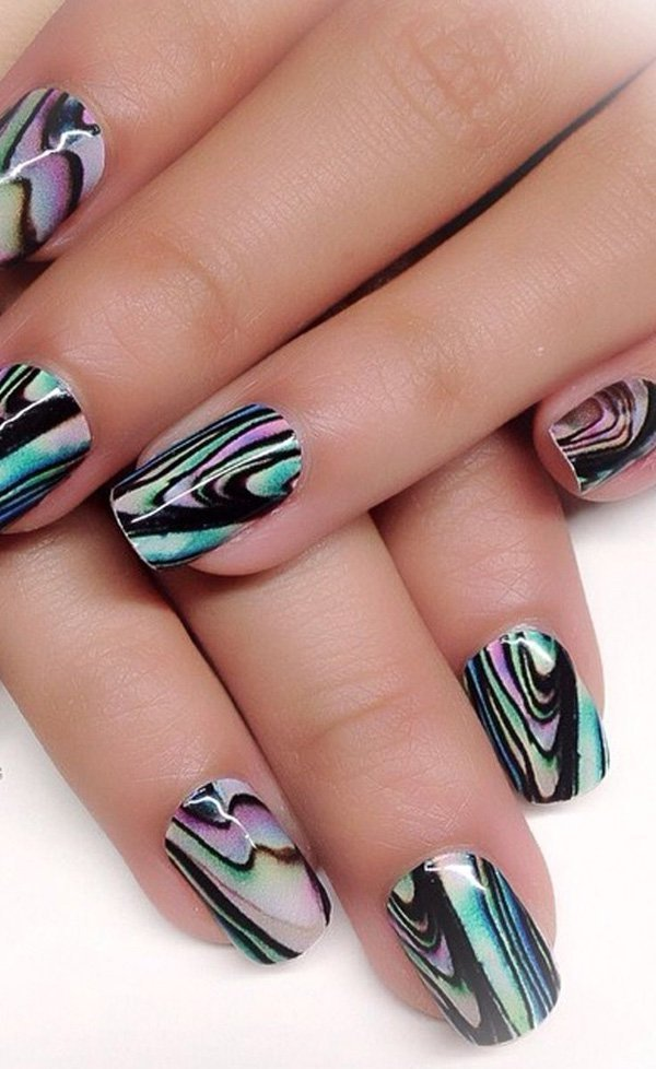 Classy abstracted marble nail designs