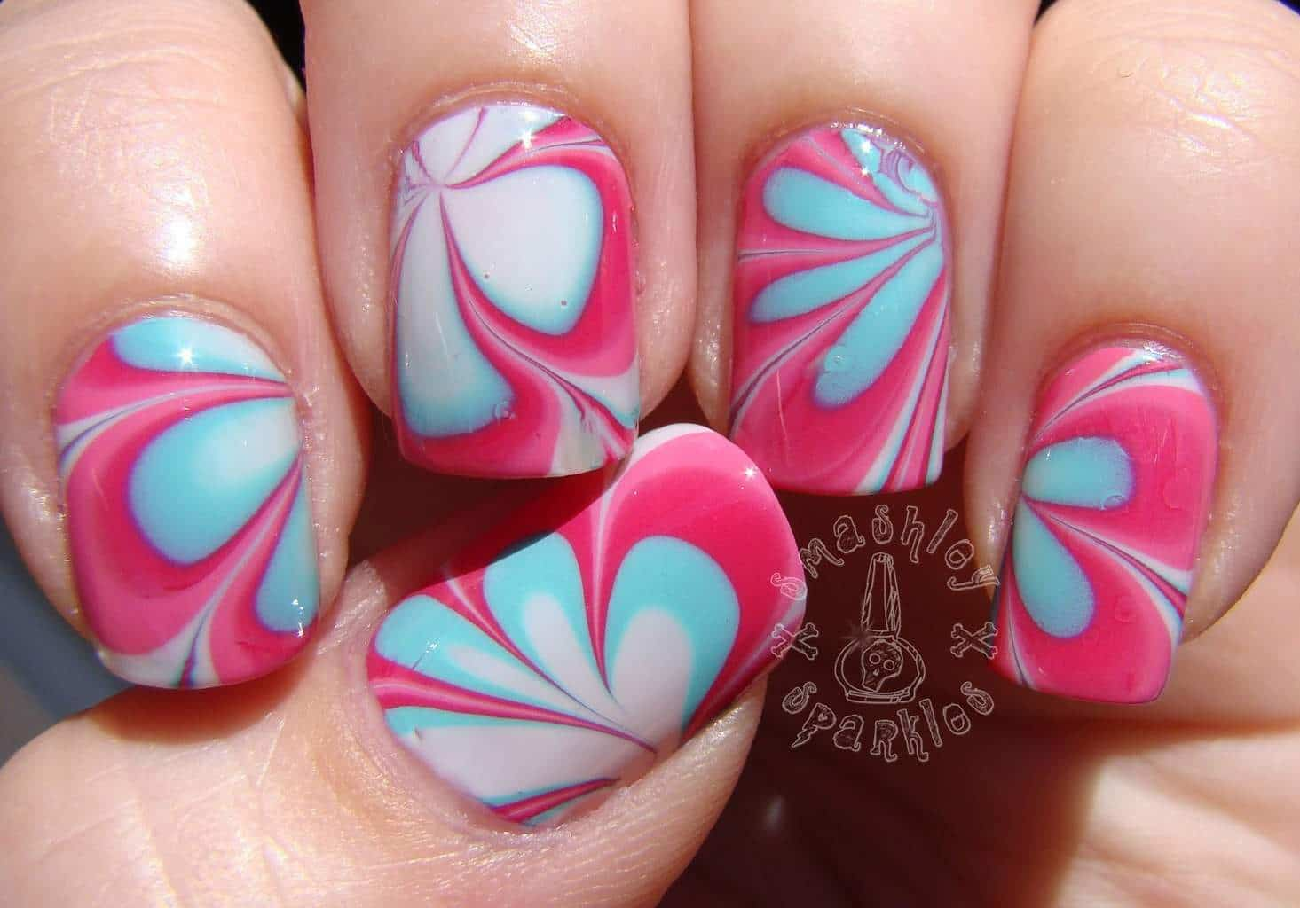 Girly-girl Marble Design nail art