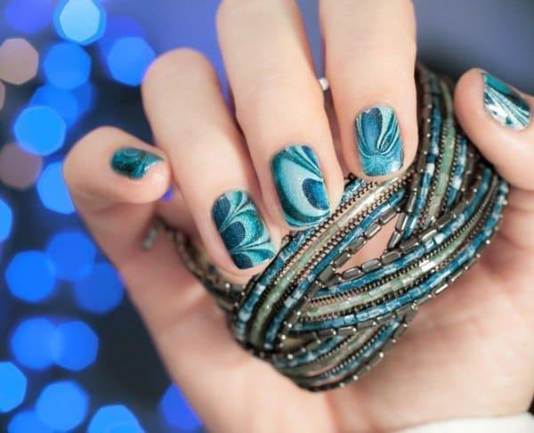 Green marble nail art