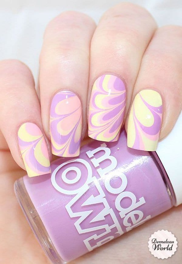 Flower Patterned marble nail art for women