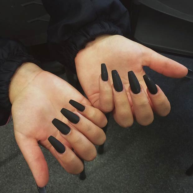 Pitch Black matte nail designs - 70 Dazzling Matte Nail Designs To Wear In 2018