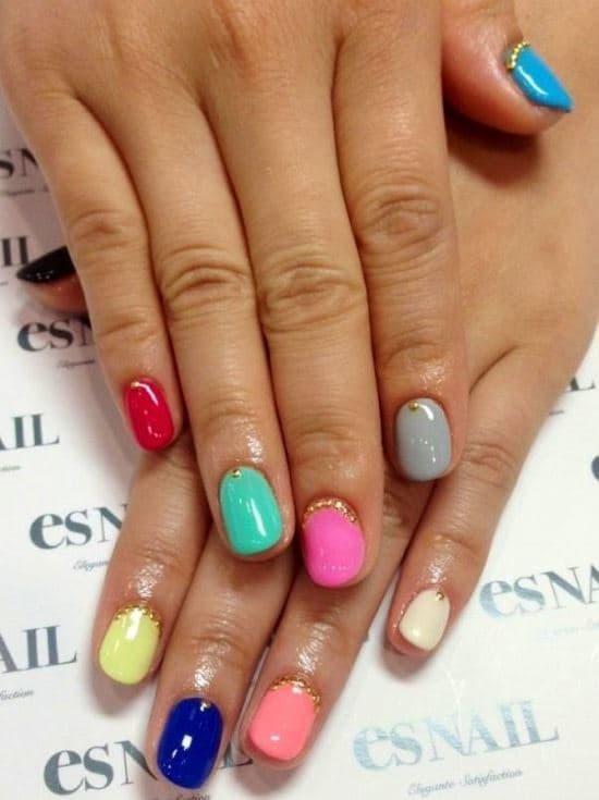 Rainbow matte nail designs
