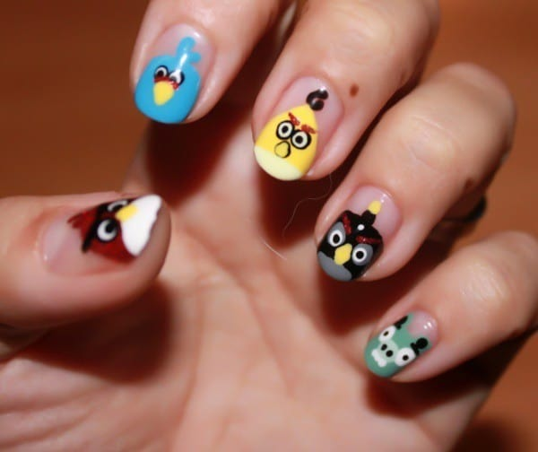 Angry Birds nail designs