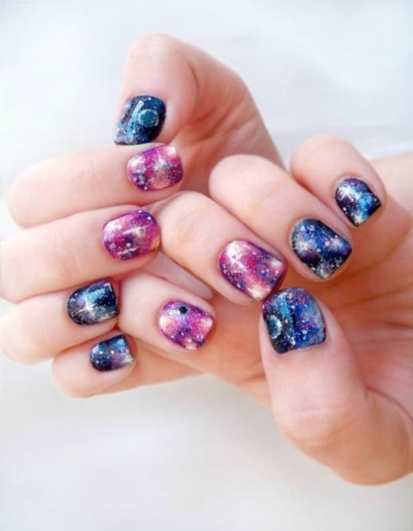 bright Galaxy nail art for kids - 25 Cute & Beautiful Nail Designs For Kids – NailDesignCode