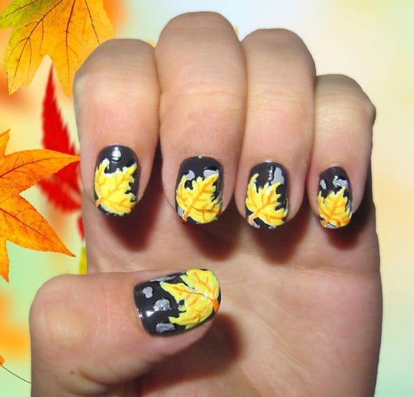 all time favorite nail designs with Autumn Leaves