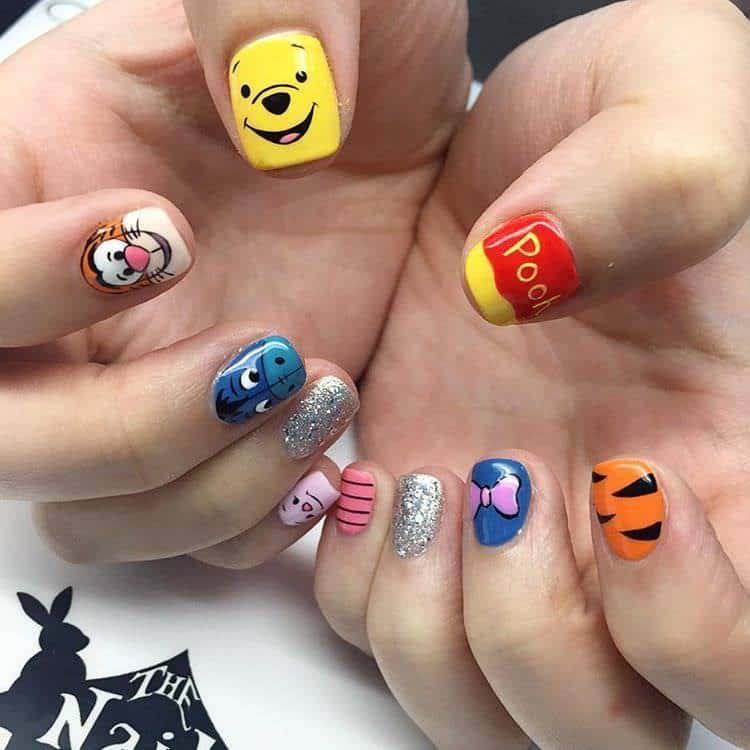 Winnie The Pooh nail designs