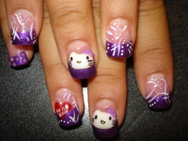 Purple Kitty nail designs
