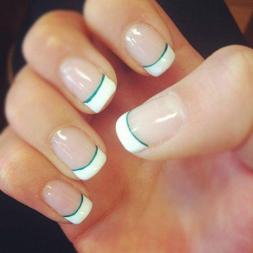 Tiffany Blue and white nail designs