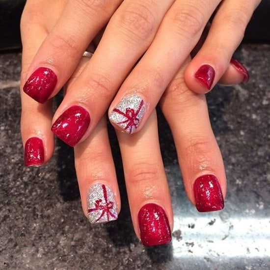 Christmas Spirit bow nail for women